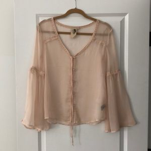 Soft Pink Blouse with Embroidery and Flounce
